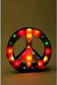 lighted peace sign light outdoor up metal ed word tree topper giant