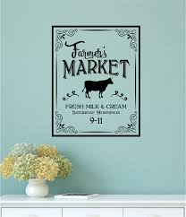 Farm Animal Kitchen Decor Farmers Market Fresh Milk Cream Vinyl Decal Wall Stickers Farm Cow
