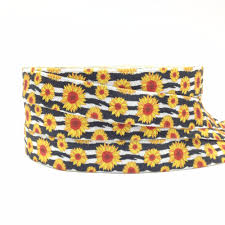 Us 2 87 18 Off New Arrival 10 Yards Sunflower Print Fold Over Elastic 5 8