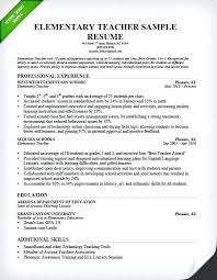 Best Teacher Resume Elementary Teacher Resume Sample Preschool ...