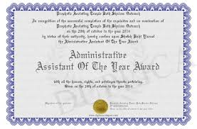 Administrative Professional Certificate Administrative Assistant Of The Year Award