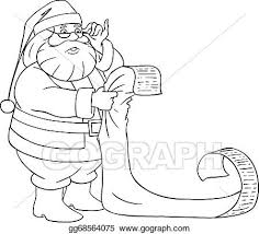 Vector Art Santa Claus Reads From Christmas List Coloring Page