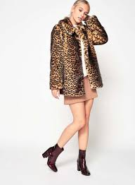 miss selfridge size 6 petite faux fur leopard print womens jacket las coat