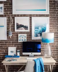blue white office space. Check Out My NYC Office Space, White Washed, Driftwood Style Campaign Desk, Against A Red Brick Wall With An Ombre Blue And Lampshade. Space W