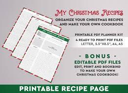 Christmas Recipe Cards Template Printable Recipe Card Christmas Recipes Recipe Binder Recipe Organizer Recipe Card Template Recipe Book Refill Recipe Cards Cookbook