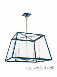 hanging ceiling light lantern navy blue black pendant bronze chain brass interior exterior gas electric scroll