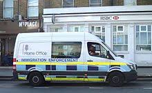 home office picture. A Home Office Immigration Enforcement Vehicle In North London. Picture