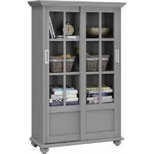 tall 51 barrister bookcase display cabinet 4 shelf sliding glass doors wood gray for