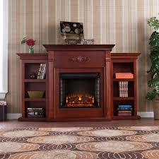southern enterprises tennyson mahogany electric fireplace with bookcases hover to zoom