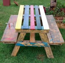 pallet outdoor furniture ideas. Colorful Picnic Table Pallet Outdoor Furniture Ideas