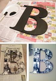 A photo collage monogram using wooden letters, pictures and mod podge! --  Easy