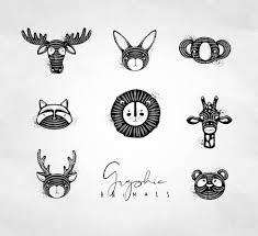 Set Of Animals Authentic Graphic Rabbit, Panda, <b>Raccoon</b>, <b>Lion</b> ...