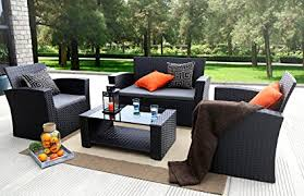 patio furniture. Plain Patio Baner Garden N87 4 Pieces Outdoor Furniture Complete Patio Cushion Wicker  PE Rattan Set With