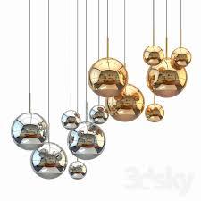 mirror ball pendant chrome and gold light set