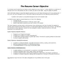 Example Career Objectives For Resume How To Write In Resumes