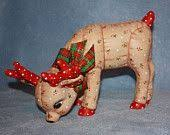 Handpainted Ceramic <b>Christmas</b> Reindeer painted with a Holly ...