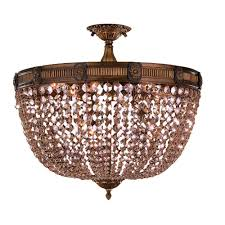 worldwide lighting winchester 9 light antique bronze and golden teak crystal semi flush mount