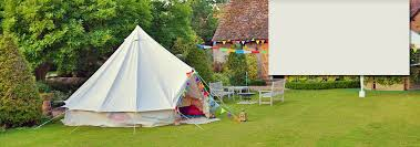 bell tent in rural setting