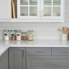white kitchen subway backsplash ideas. Kitchen, A Grey And White Kitchen Featuring Subway Tile Backsplash, IKEA Cabinets Backsplash Ideas E