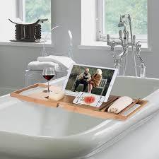 luxury bamboo bathtub caddy organizer w book tablet holder wine glass holder