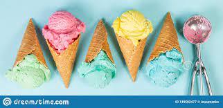 Pastel Ice Cream In Waffle Cones Stock ...