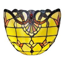 River Of Goods 8 Inch Tiffany Style Stained Glass Allistar Wireless LED  Wall Sconce