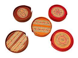 designer coasters  leather coaster set from india  craft montaz