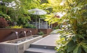 Outdoor Dining Terrace, Canopy Of Trees Small Garden Pictures Garden Design  Calimesa, CA