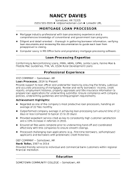 Sample Resume for a Mortgage Loan Processor