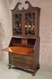 vintage jasper solid gany secretary desk dbl serpentine ball claw foot