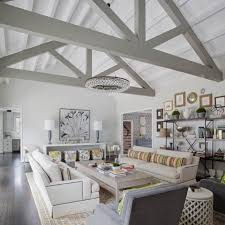 Gray Transitional Living Room With Vaulted Ceiling