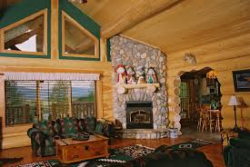 ... Attractive Pictures Of Log Cabin Home Decoration Interior Design Ideas  : Good Looking Green Pattern Sofa ...