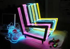 neon furniture. A Bespoke Illuminated Furniture Concept. Constructed By Kiwi \u0026 Pom From 200 Linear Metres Of Electroluminescent Wire, The Chair Transforms Into Neon