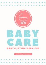 Babysitting Ads Blue Dots Babysitting Flyer Templates By Canva