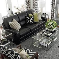 black leather sofa living room