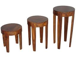 sheesham wood round plant stand lamp tables in choice of sizes