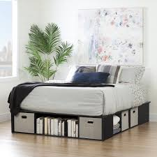 black platform bed with storage. Plain With Black Oak Queen Platform Bed With Storage And Baskets  Flexible  RC  Willey Furniture Store On With L