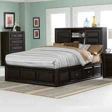 image of queen storage platform bed bookcase