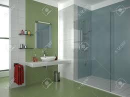 Moderne Badezimmer Mit Grün Weiß Und Blau Fliesen Lizenzfreie Fotos