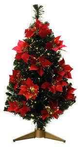 Poinsettia Christmas Tree Lights Uk Light Up 90cm 3ft Green Red Poinsettia Fibre Optic Artificial Christmas Tree
