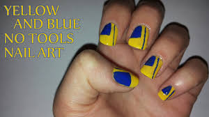 Yellow And Blue No Tools Nail Art With Tutorial Video