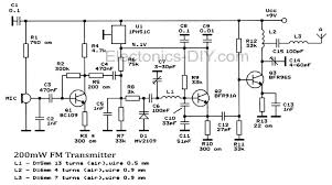 circuit zone com electronic projects electronic schematics diy 200mw fm broadcast transmitter