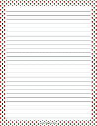 Printable Christmas Stationery Papers Free Templates Corner Lined