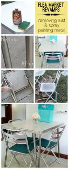 cool flea market vintage table revamp with tips on how to remove rust from chrome and spray paint metal chairs to look chrome full kitchen table and chairs