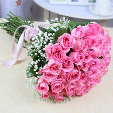 picture image of fresh 35 pink roses hand tied bouquet