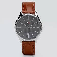 tommy hilfiger damon leather watch