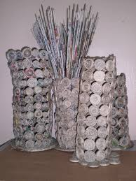 News Paper Flower Vase Flower Vase News Paper Art Craft Recycled News Paper