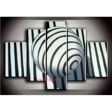 hand painted picture on canvas black white oil painting no frame stripe ball for living room