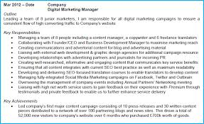 Social Media Marketing Job Description Fascinating Digital Marketing CV Example With Writing Guide And CV Template