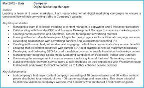 Social Media Marketing Job Description Fascinating Digital Marketing CV Example With Writing Guide And CV Template